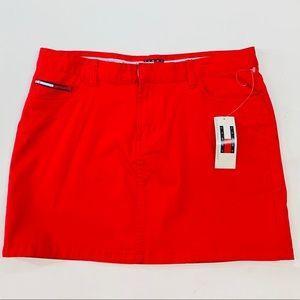 NWT Tommy Hilfiger Red Mini Jean Skirt Logo